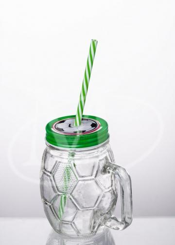 Кружка с трубочкой 0.5л. «Футбол» , зеленый