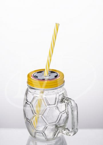 Кружка с трубочкой 0.5л. «Футбол» , желтый