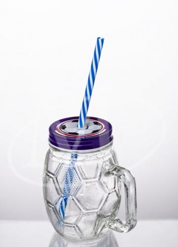 Кружка с трубочкой 0.5л. «Футбол» , фиолетовый